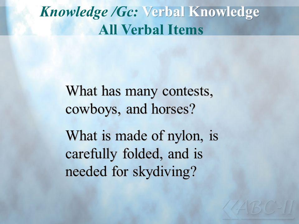 Knowledge /Gc: Verbal Knowledge All Verbal Items