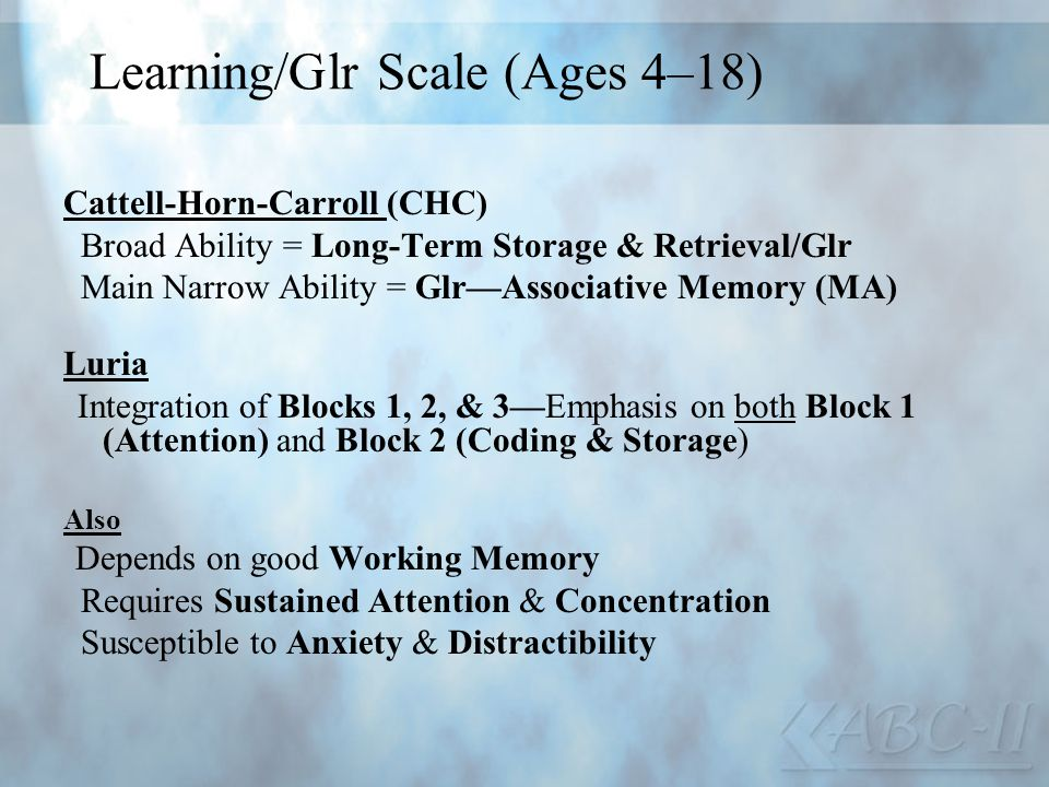 Learning/Glr Scale (Ages 4–18)