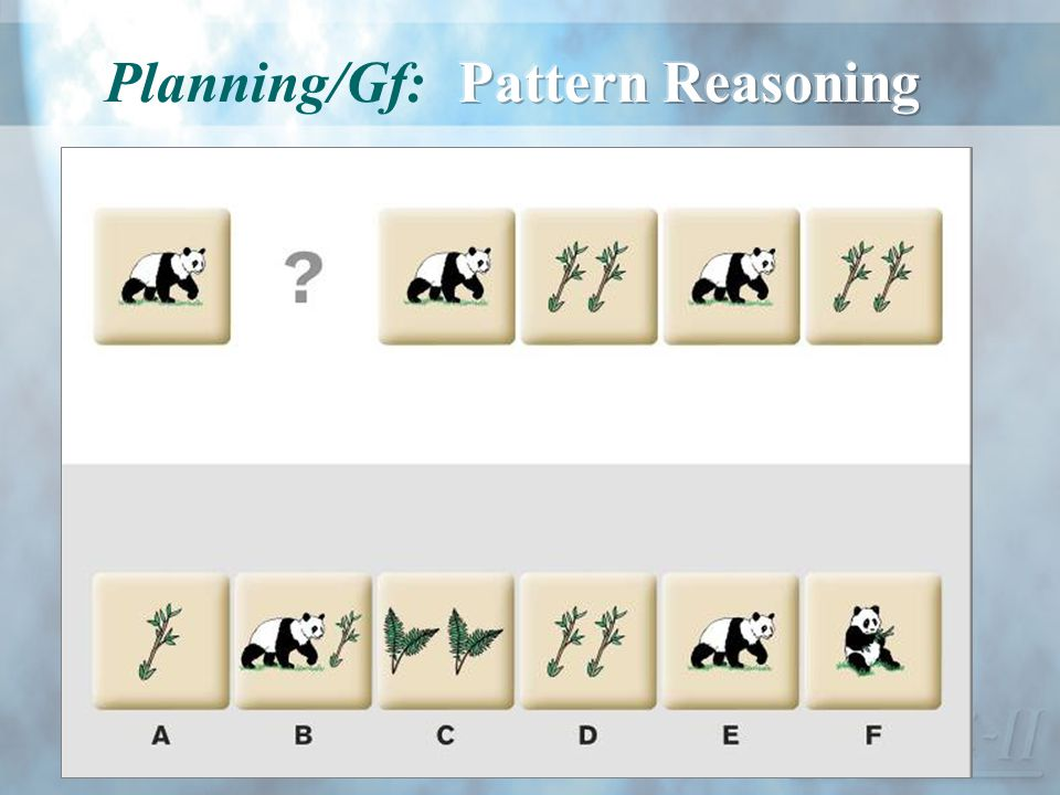Planning/Gf: Pattern Reasoning
