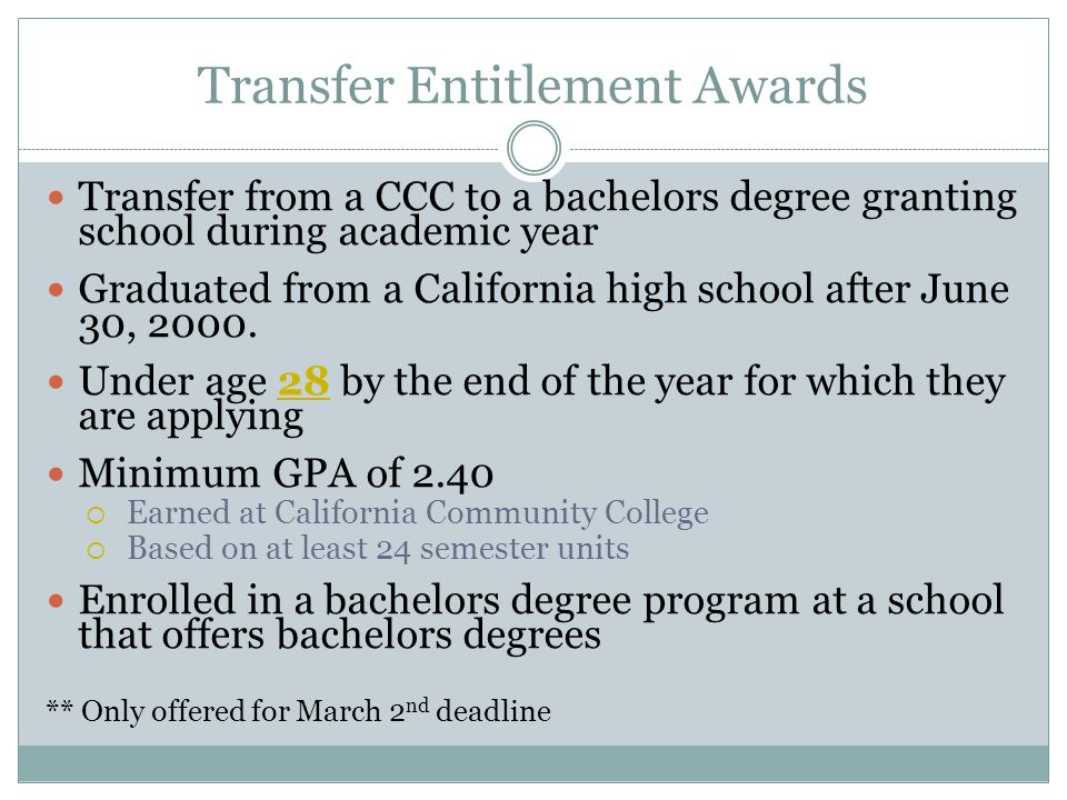 Transfer Entitlement Awards