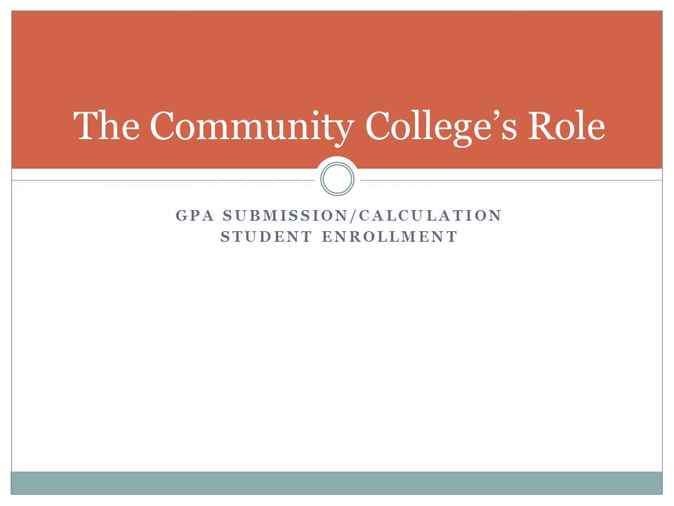 The Community College's Role