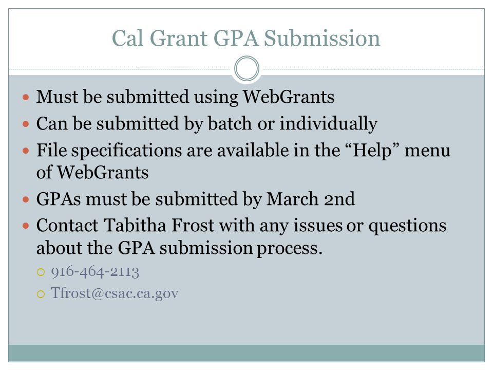 Cal Grant GPA Submission
