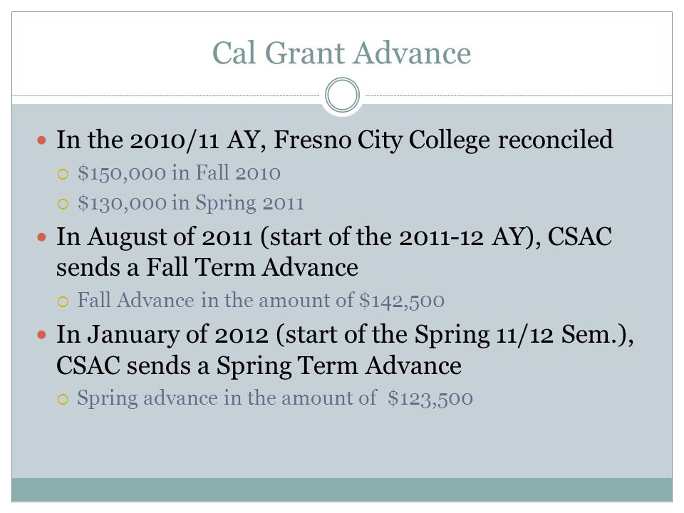 Cal Grant Advance In the 2010/11 AY, Fresno City College reconciled
