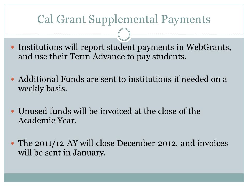 Cal Grant Supplemental Payments
