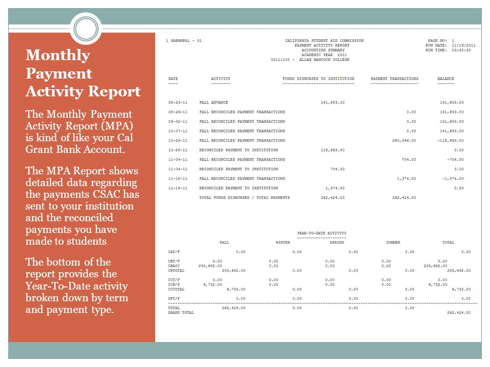 Monthly Payment Activity Report