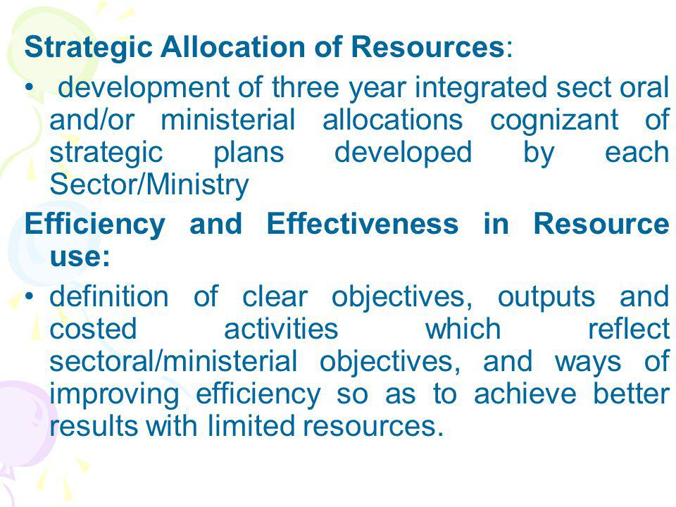 Strategic Allocation of Resources: