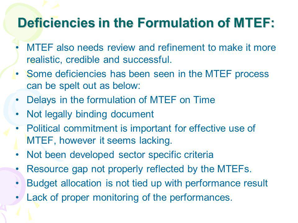 Deficiencies in the Formulation of MTEF: