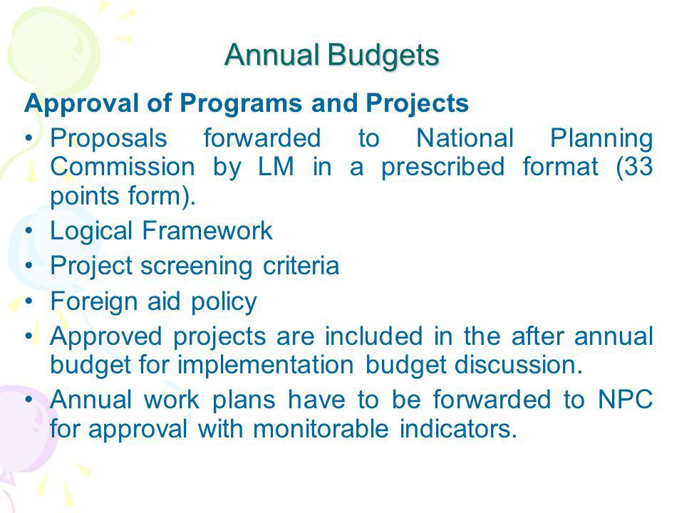 Annual Budgets Approval of Programs and Projects