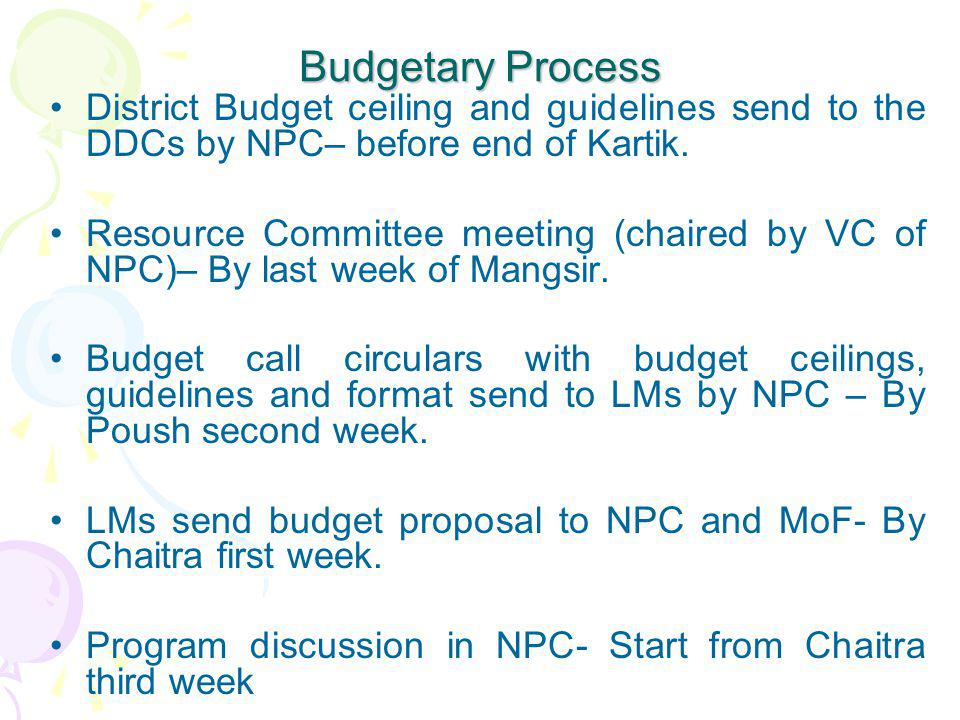 Budgetary Process District Budget ceiling and guidelines send to the DDCs by NPC– before end of Kartik.