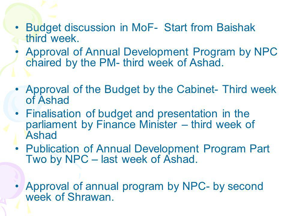 Budget discussion in MoF- Start from Baishak third week.