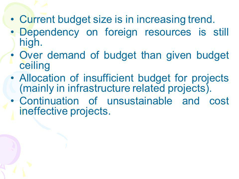 Current budget size is in increasing trend.