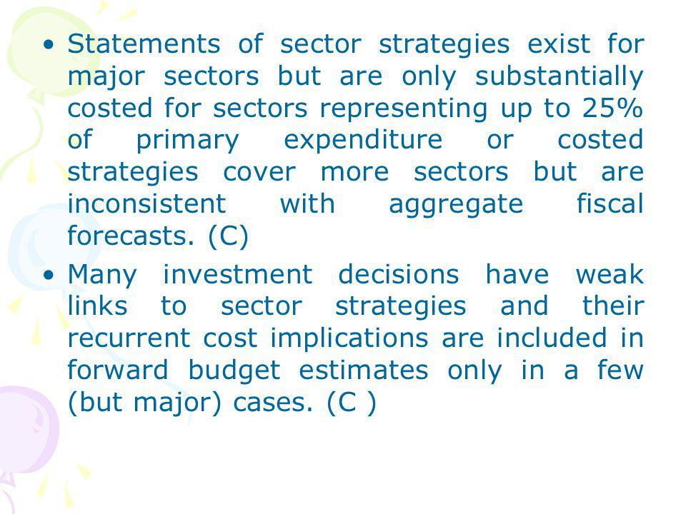 Statements of sector strategies exist for major sectors but are only substantially costed for sectors representing up to 25% of primary expenditure or costed strategies cover more sectors but are inconsistent with aggregate fiscal forecasts. (C)