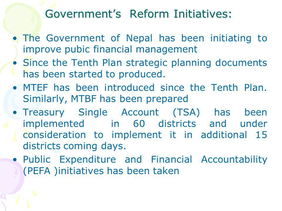Government's Reform Initiatives: