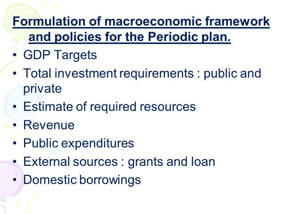 Formulation of macroeconomic framework and policies for the Periodic plan.