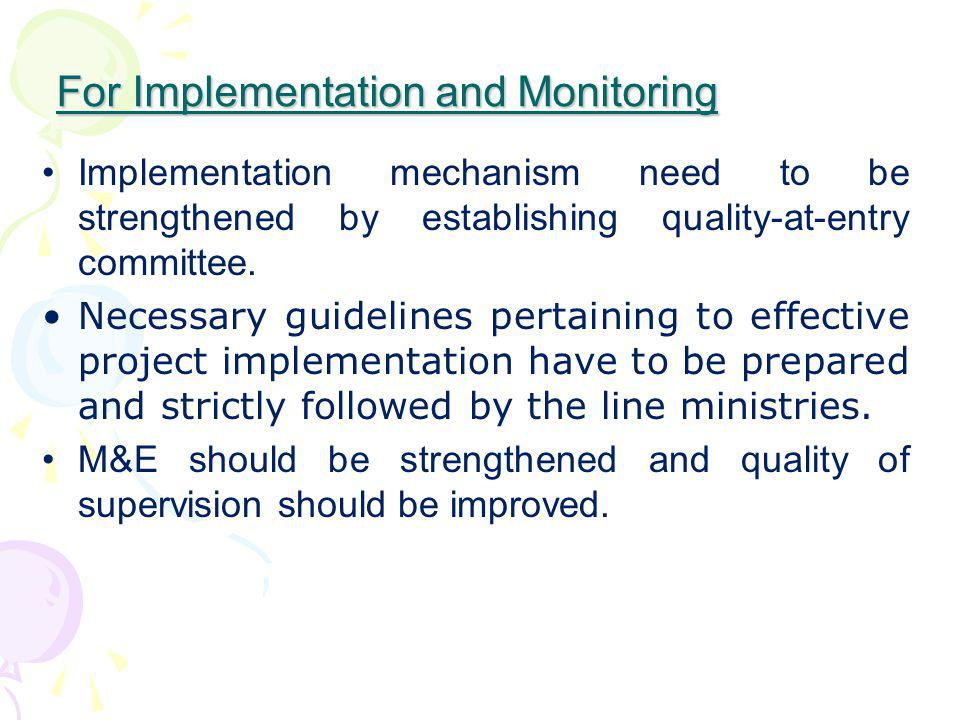 For Implementation and Monitoring