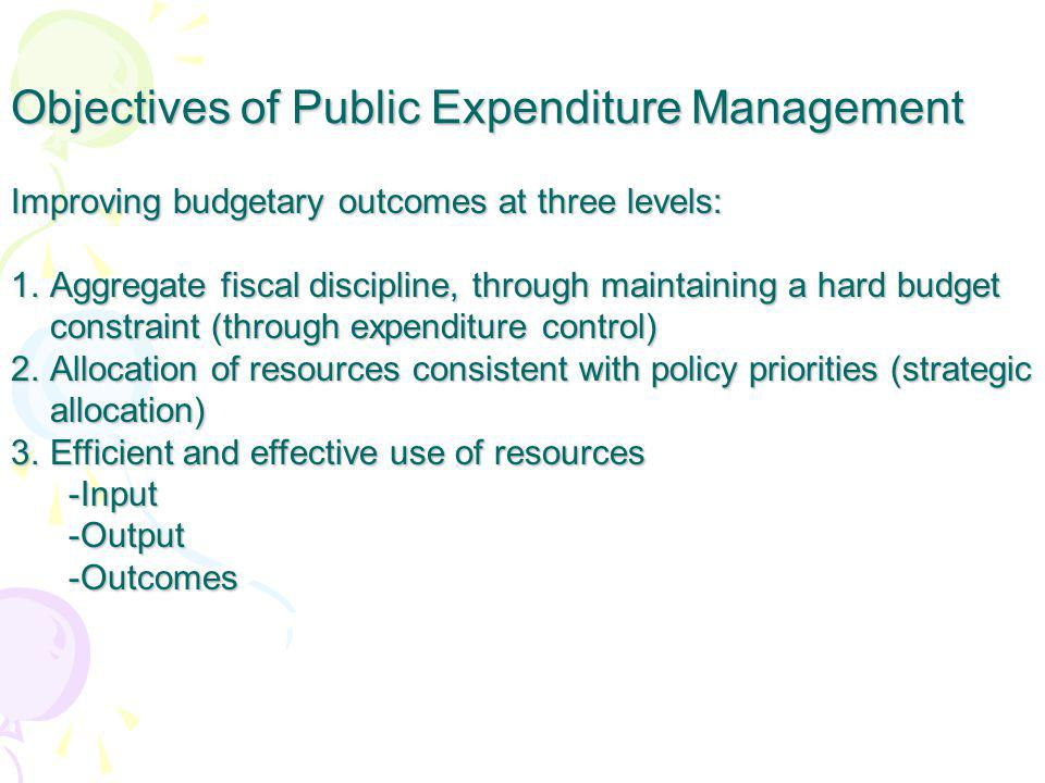 Objectives of Public Expenditure Management