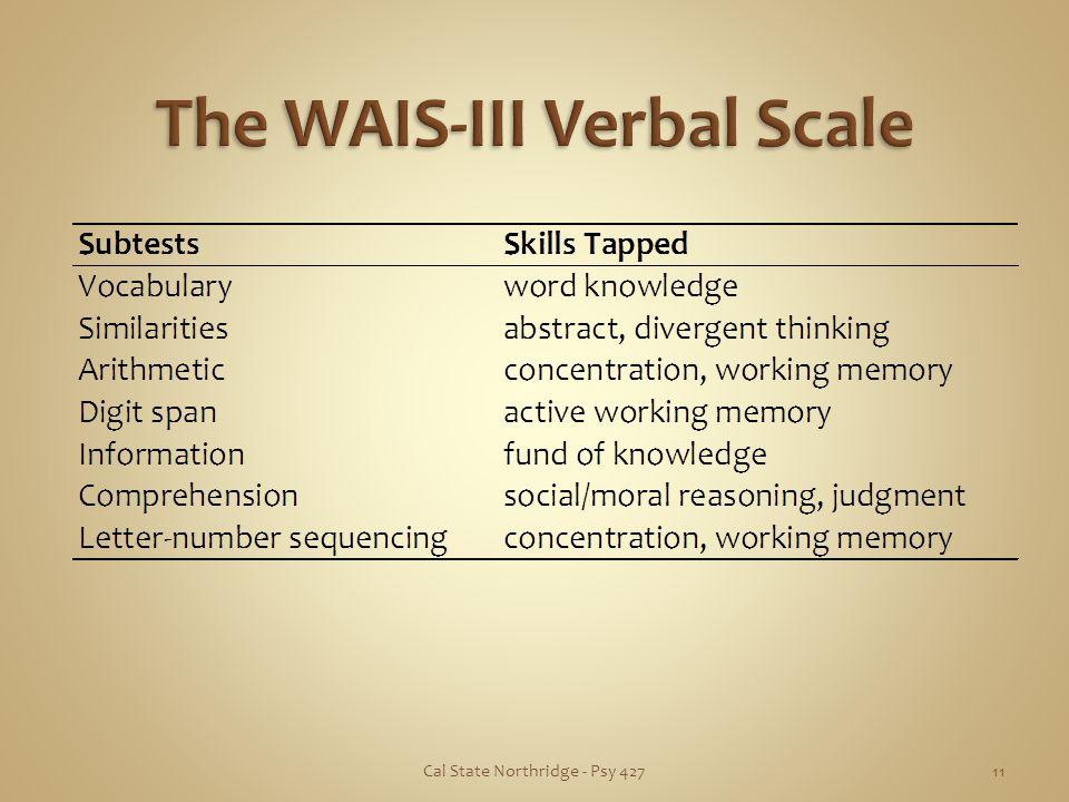 The WAIS-III Verbal Scale