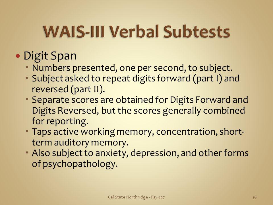 WAIS-III Verbal Subtests