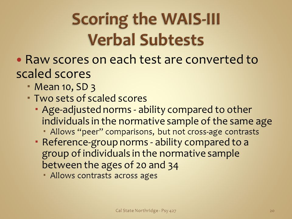 Scoring the WAIS-III Verbal Subtests
