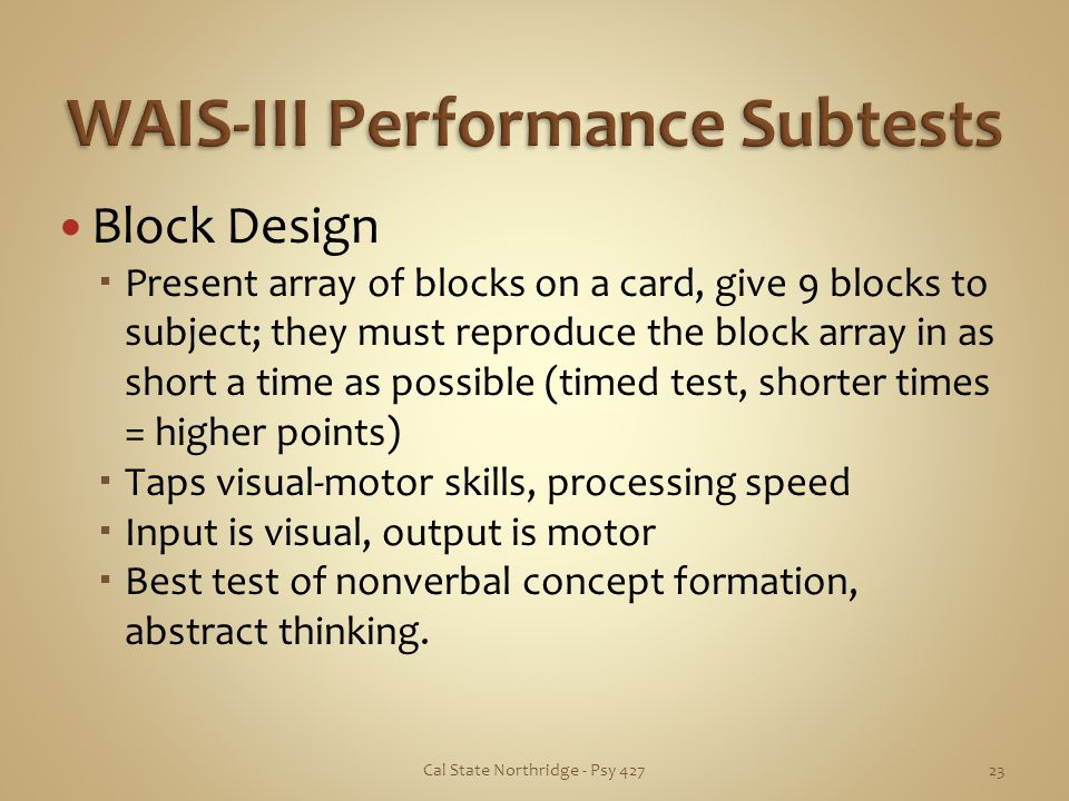 WAIS-III Performance Subtests
