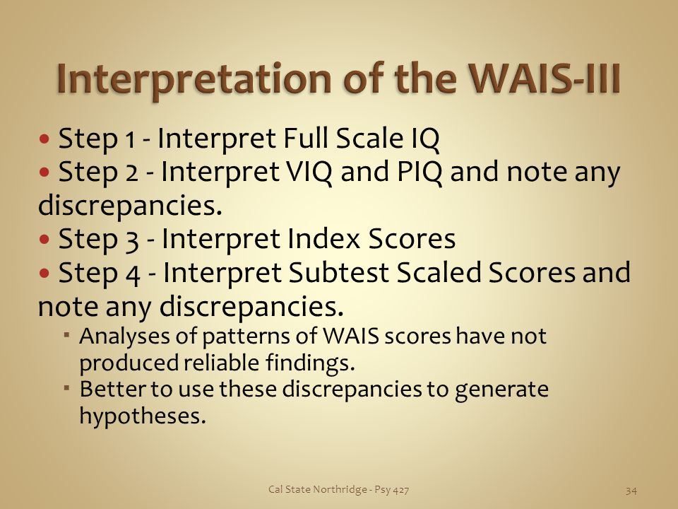 Interpretation of the WAIS-III