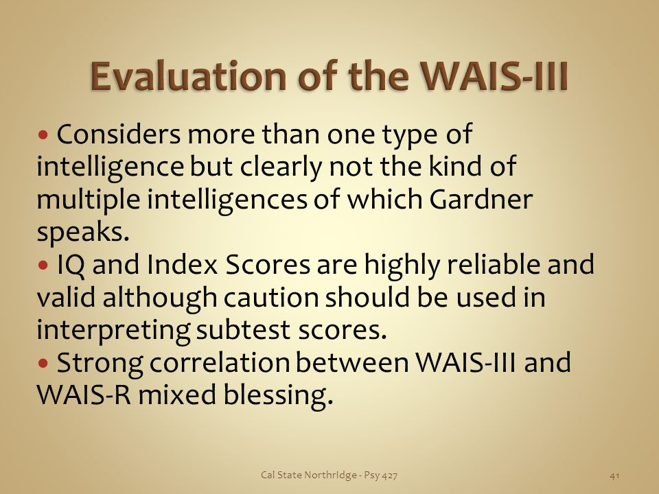 Evaluation of the WAIS-III
