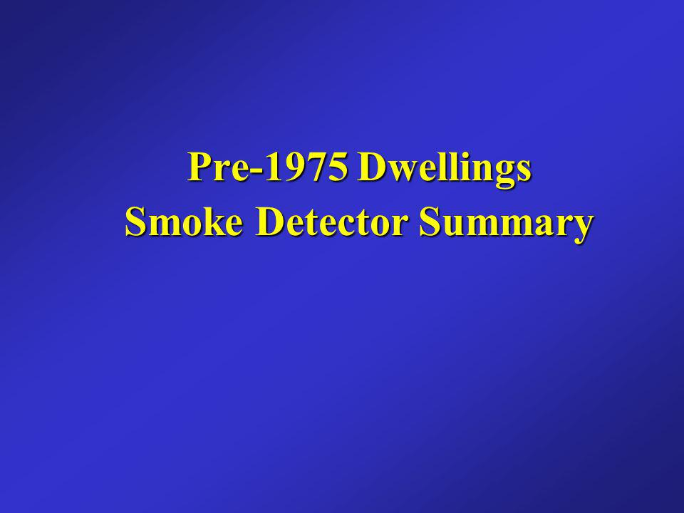 Pre-1975 Dwellings Smoke Detector Summary