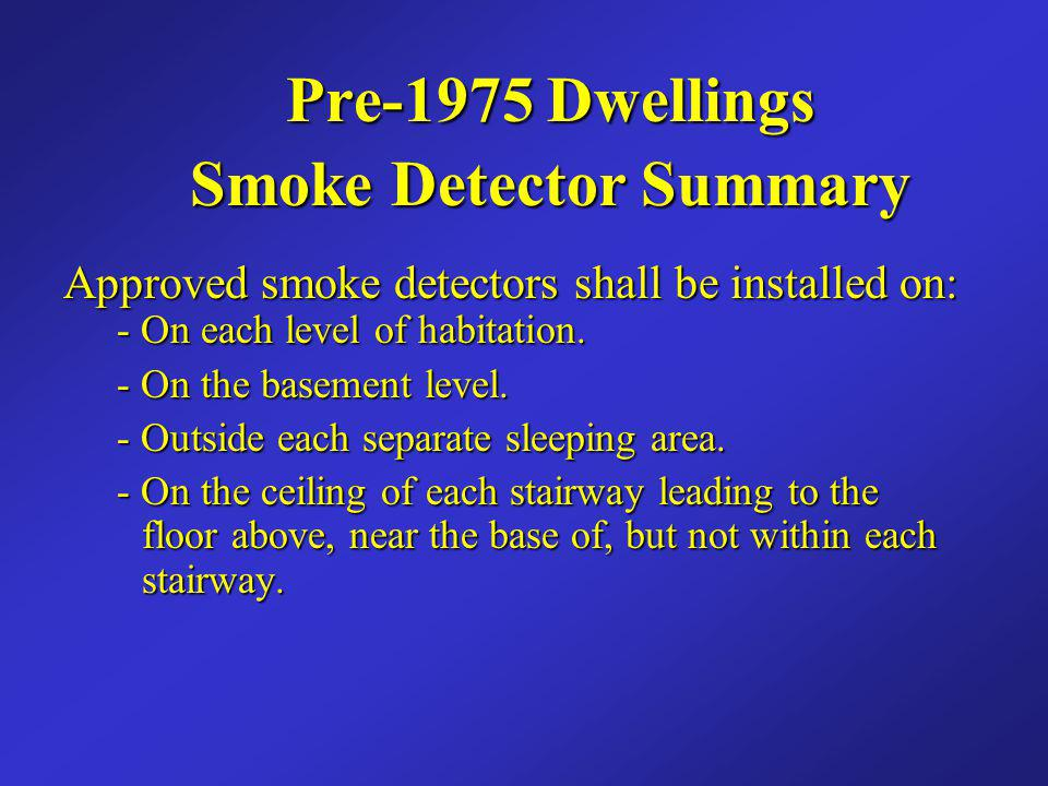 Smoke Detector Summary