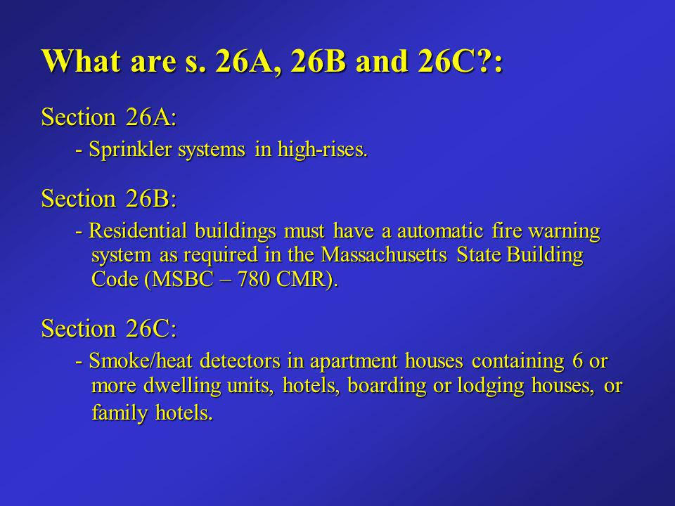 What are s. 26A, 26B and 26C : Section 26A: Section 26B: Section 26C: