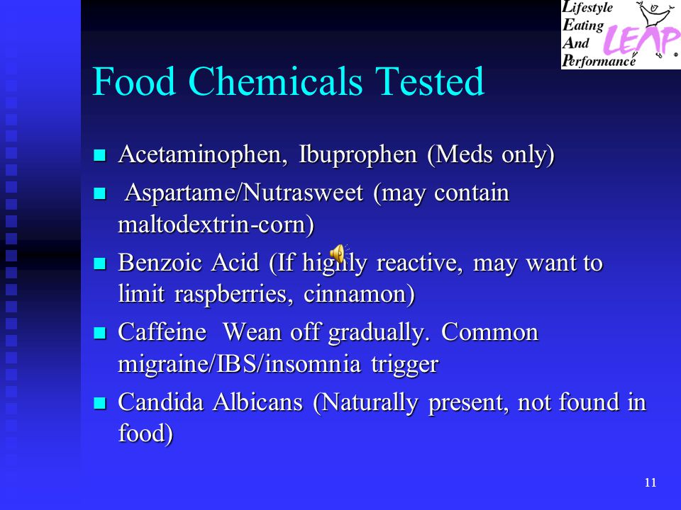 Food Chemicals Tested Acetaminophen, Ibuprophen (Meds only)
