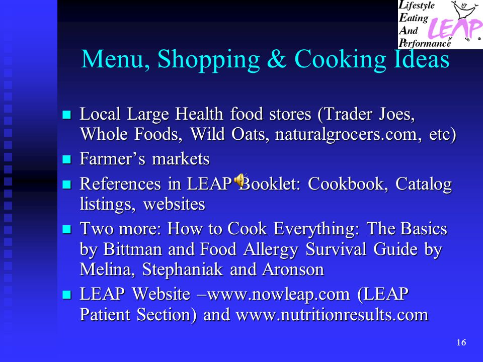 Menu, Shopping & Cooking Ideas