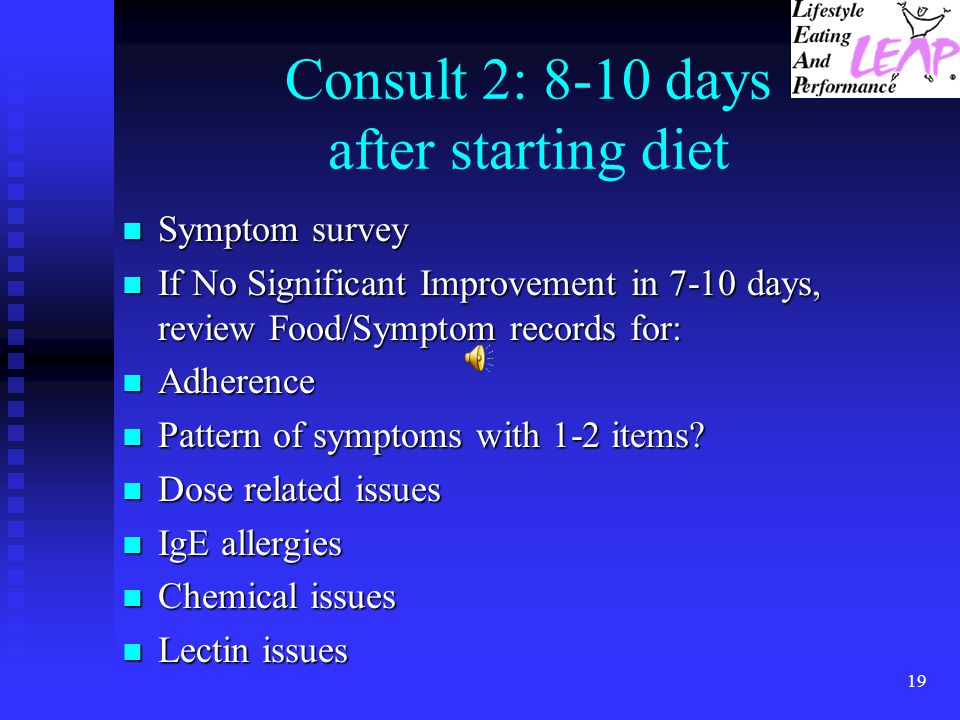 Consult 2: 8-10 days after starting diet