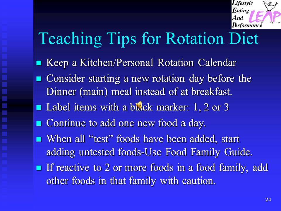 Teaching Tips for Rotation Diet