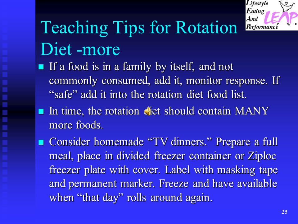 Teaching Tips for Rotation Diet -more