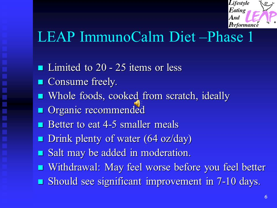 LEAP ImmunoCalm Diet –Phase 1