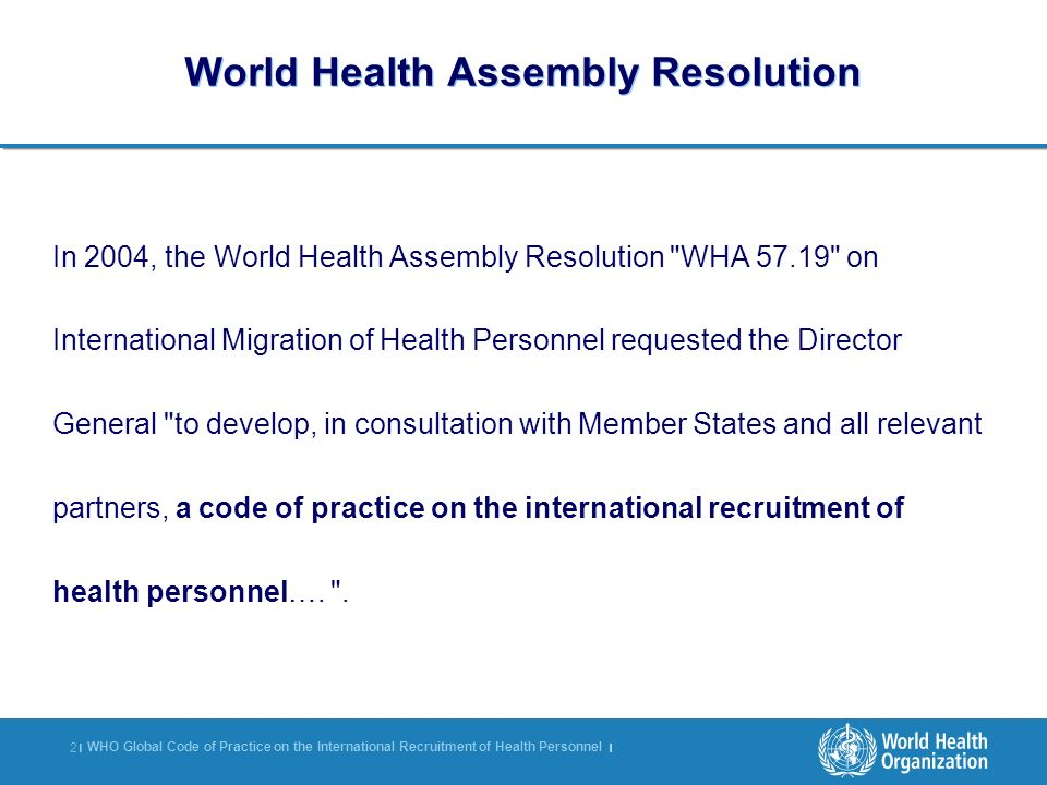 World Health Assembly Resolution