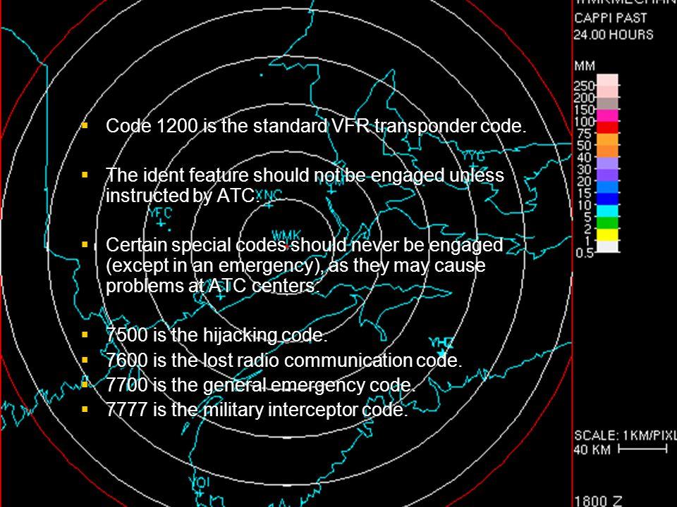 Code 1200 is the standard VFR transponder code.