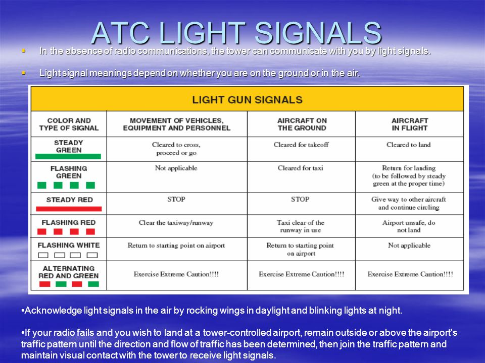 ATC LIGHT SIGNALS In the absence of radio communications, the tower can communicate with you by light signals.