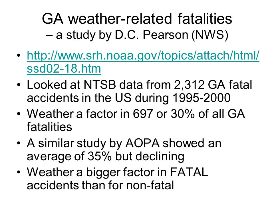 GA weather-related fatalities – a study by D.C. Pearson (NWS)