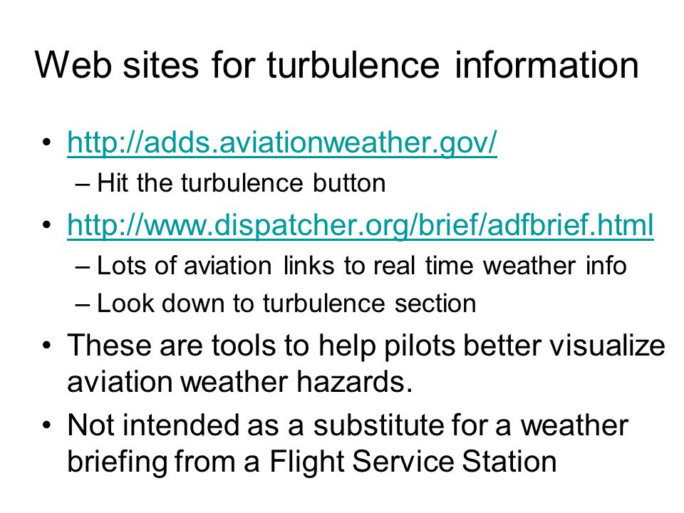 Web sites for turbulence information