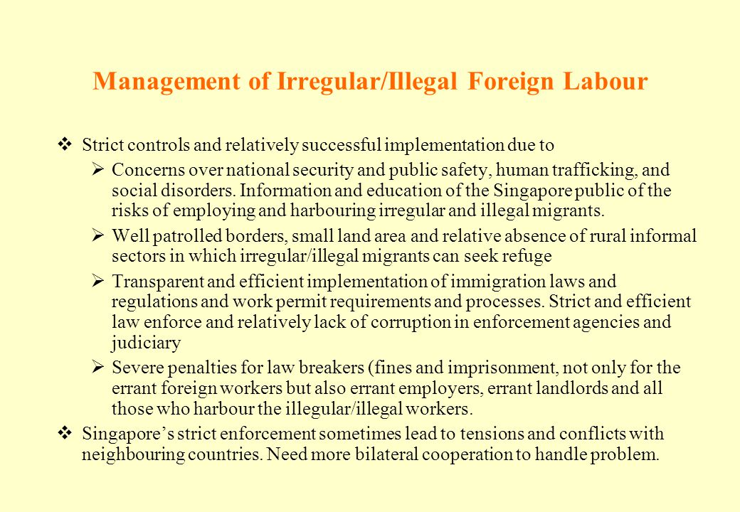 Management of Irregular/Illegal Foreign Labour