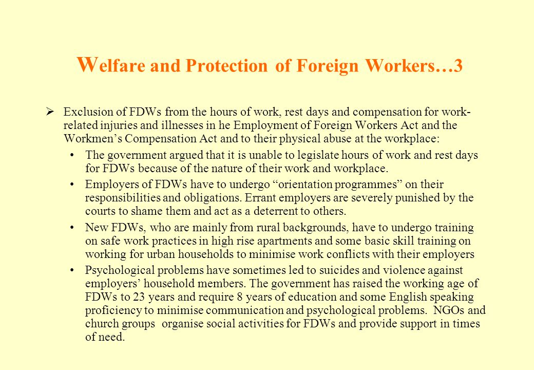Welfare and Protection of Foreign Workers…3