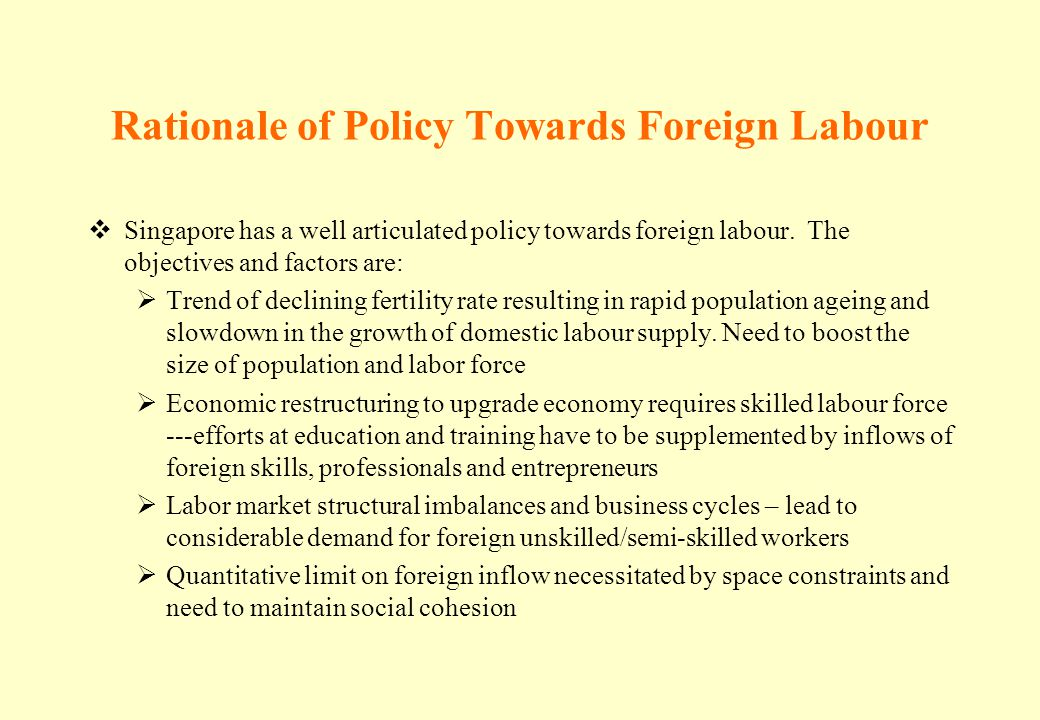 Rationale of Policy Towards Foreign Labour