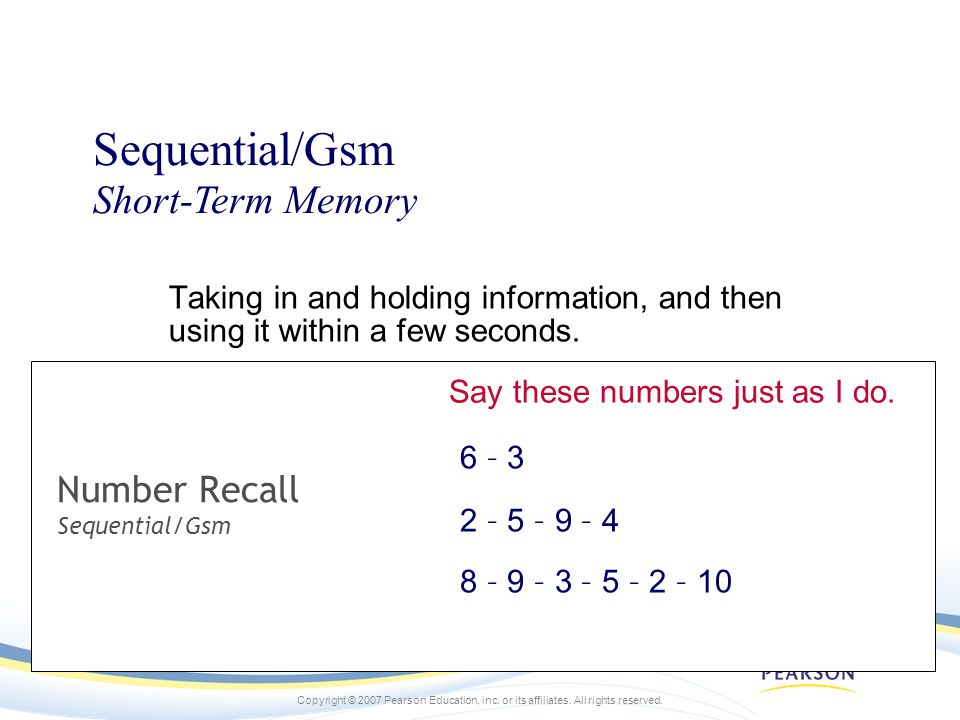 Number Recall Sequential/Gsm