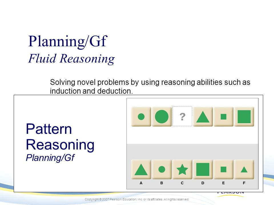 Planning/Gf Pattern Reasoning Planning/Gf Fluid Reasoning