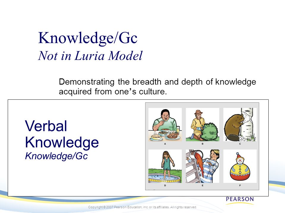Knowledge/Gc Verbal Knowledge Knowledge/Gc Not in Luria Model