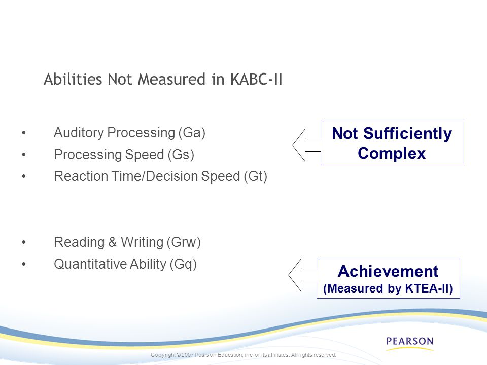 Abilities Not Measured in KABC-II