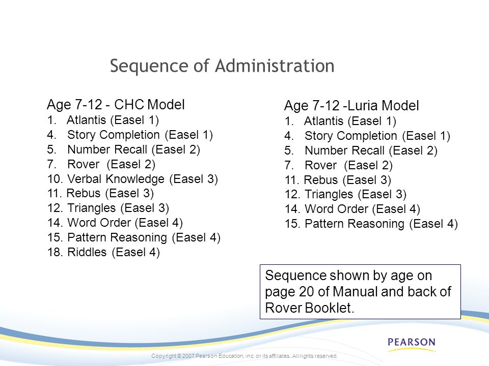 Sequence of Administration