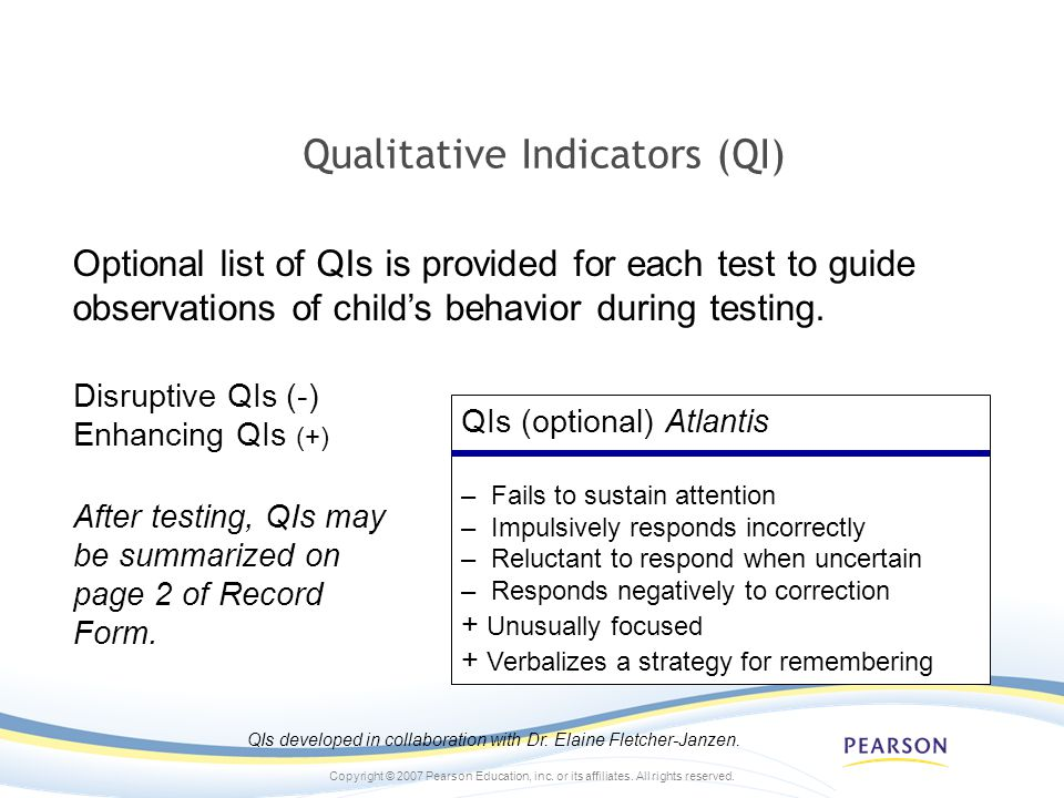 Qualitative Indicators (QI)