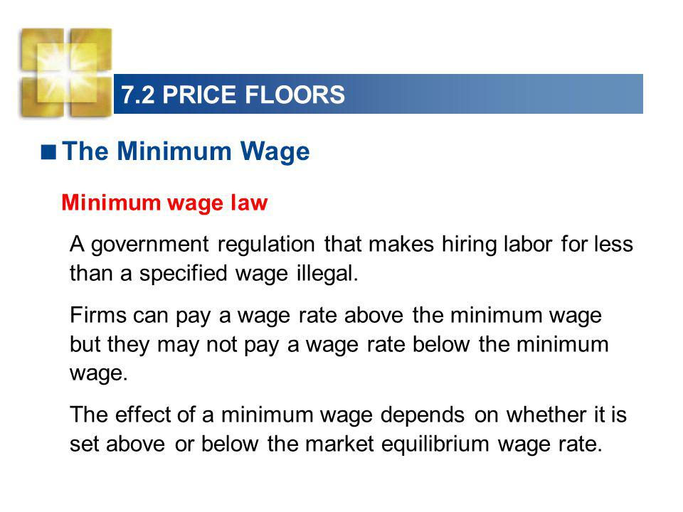 Minimum wage law The Minimum Wage 7.2 PRICE FLOORS